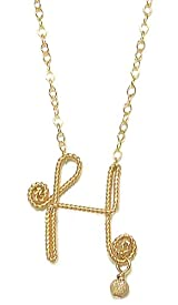 Rafia 14K Gold Filled Necklace with Delicate Wire Wrapped Initial