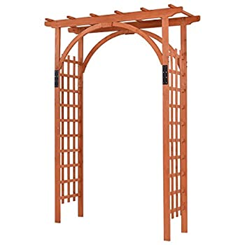 Giantex Outdoor Wooden Garden Arbor Arch Trellis Pergola Trellis Providence Arbor