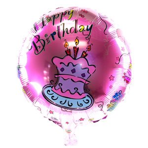 "Pink Birthday Cake 18"" Metallic Balloon - 1"