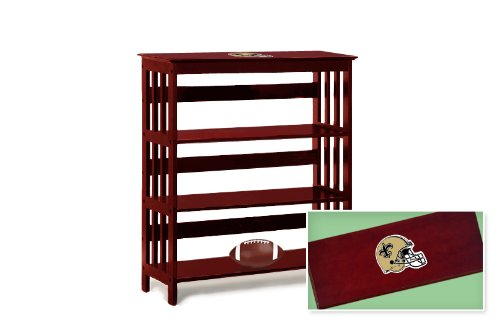 New Cherry Finish Book Shelf Sofa Table featuring New Orleans Saints NFL Team Logo at Amazon.com