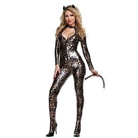 女王様 ! 豹柄 キャットスーツ 3点 セット 耳 しっぽ 付き ボディースーツ エナメル メタリック レディース セクシー コスプレ コスチューム 猫 グッズ