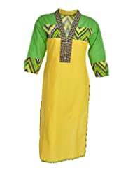 Global Women's Cotton Straight Kurta (GW32YellowS015, Yellow, S)
