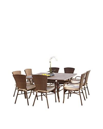 Panama Jack 9-Piece Key Biscayne Square Dining Set With Cushions, Antique Brown