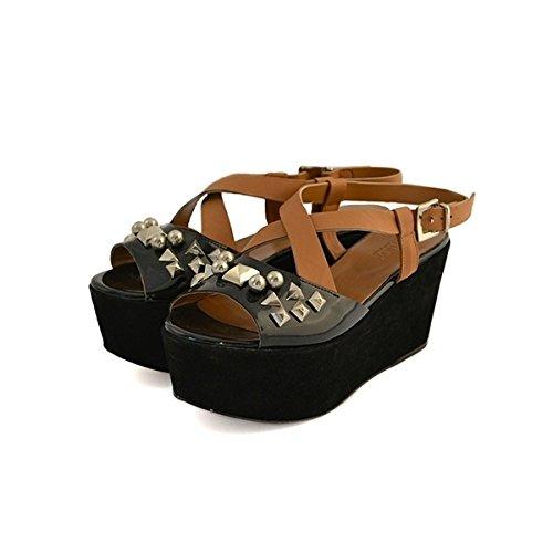 Scarpe sandali donna Jeannot numero 36 in vernice nera e zeppa camoscio marrone 31014NEROCARAMELLO