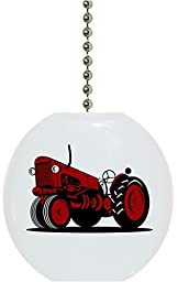 Red Vintage Tractor Solid Ceramic Fan Pull