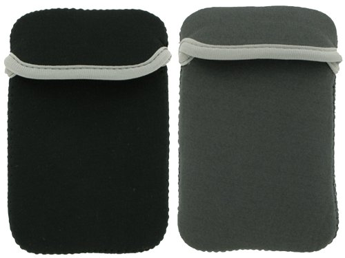 2-Sided Reversible Premium Laptop Just Fit Neoprene Sleeve Case Cover for Amazon Kindle Electronic Reading Device (Kindle NOT included) , Reversible Black / Grey