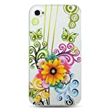 Premium Hard Design Crystal Case Cover for Apple iPhone4, 4th Generation, 4th Gen - White Flower Floral Butterfly