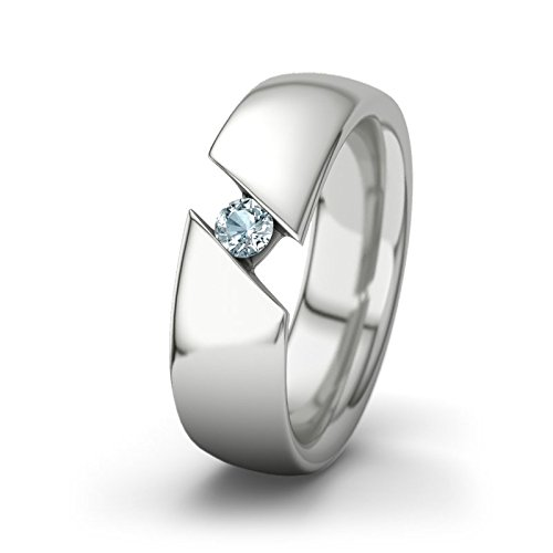21DIAMONDS Women's Ring Ines Aquamarine Brilliant Cut 9Ct White Gold Engagement Ring