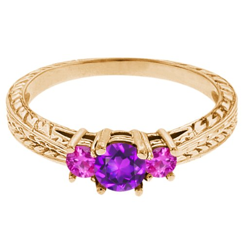 0.62 Ct Round Purple Amethyst Pink Sapphire 18K Yellow Gold 3-Stone Ring
