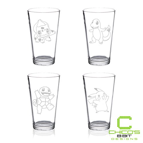 1st Generation Starter Pokemon - Pint Glass Set of 4