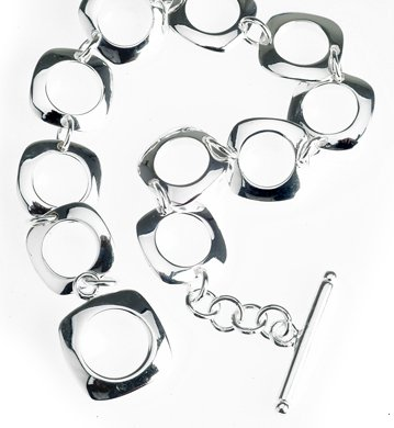 Sterling Silver Open Circle Square Link Toggle Bracelet 7.5