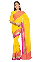 Anvi Yellow and peach faux georgette designer saree with unstitched blouse (1497)