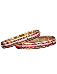 Yashasya Pink Bangle Set Of 2 Pcs For Women
