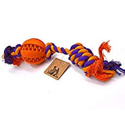 PetFun Pet\'s Indestructible Cotton Knotted Rope Ball Toy for Dog Chewing Game