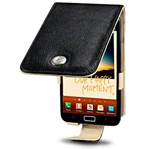 SAMSUNG GALAXY NOTE BLACK GENUINE LEATHER FLIP CASE / COVER / POUCH / HOLSTER, CREAM INSIDE, BY TERRAPIN PART OF THE QUBITS ACCESSORIES RANGE