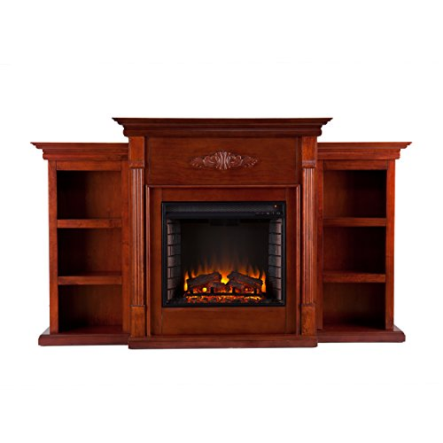 Southern Enterprises Tennyson Mahogany Electric Fireplace With Bookcases