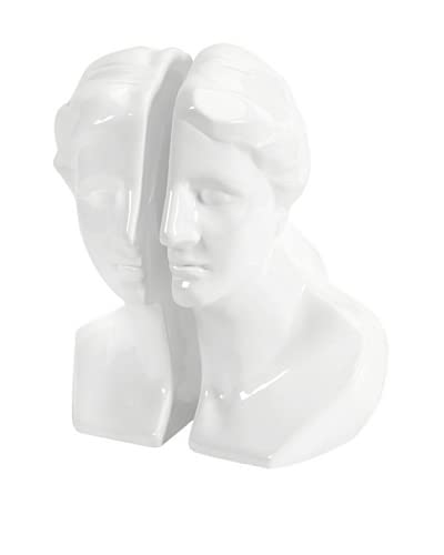 Set of 2 White Greek Lady Bookends