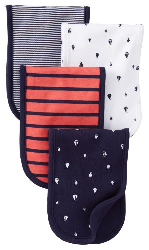 Carter's Burp Cloth - Red/Navy - 4 ct - 1
