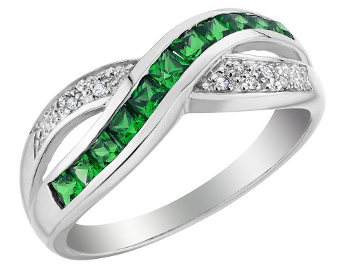 Created Emerald Infinity Ring with Diamonds 2/3 Carat (ctw) in 10K White Gold
