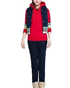 ZANZEA Femme Automne Hiver 3 en 1 Hoodie Coat+Vest+Pant Jumper Sweater Suit Survêtement Jacket Pantalons Rouge FR 42/Etiquette Taille 2XL