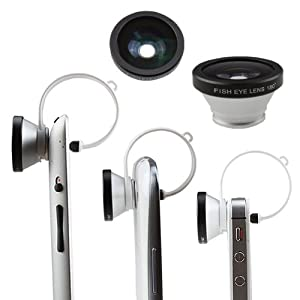 AGPtek® Circular Clip 180 Degree Fisheye Lens (silver) for iPhone iPod touch iPad Samsung Galaxy S3 Note 2 and Most of Phones Tablet PC with Camera Lens
