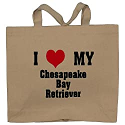 I Love/Heart Chesapeake Bay Retriever Totebag (Cotton Tote / Bag)