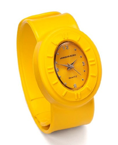 Addison Ross Unisex Quartz Watch with Yellow Dial Analogue Display and Yellow Silicone Strap WA0034