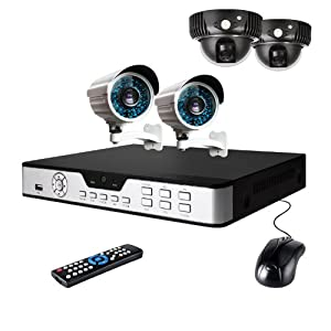 Zmodo 8CH Security Camera System with 2 LED Array Indoor Dome Cameras + 2 Long Fixed Lens Outdoor Bullet Cameras w/ 1TB Hard Drive