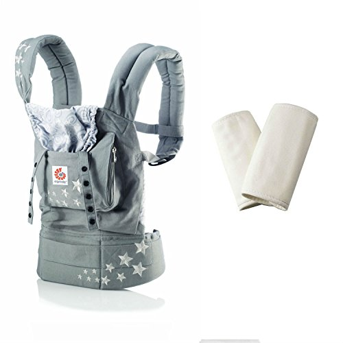 Ergo Baby Original Baby Carrier, Galaxy Grey + Original Collection Teething Pads, Natural