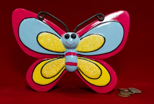 "7"" Whimsical Red Butterfly Coin Piggy Bank - 1"