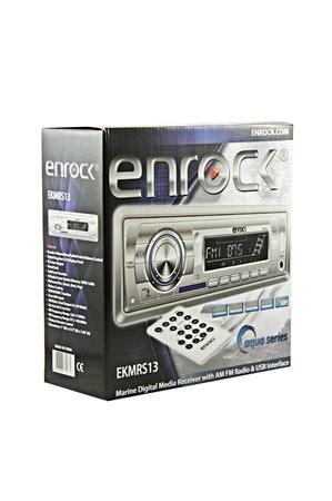 Enrock EKM-RS13 Aqua Series 4 x 50 Watt In-Dash Marine AM/FM/Radio/SD/USB Digital Media Receiver with AUX Input for iPod/MP3 Players (Silver)
