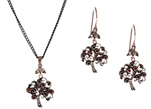 Hurrem Sultan Style Vintage Drop and Dangle Earrings and Necklace Set