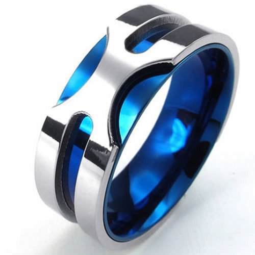 KONOV Jewelry Mens Stainless Steel Ring, 8mm Classic Band, Blue Silver, Size 7