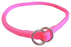 Hamilton 5/16 Inch x 16 Inch Round Braided Choke Nylon Dog Collar, Hot Pink (827 HP)
