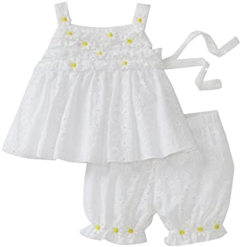 Kate Mack Baby-Girls Infant Bloomer And Daisy Mae Top Set, White, 3 Months
