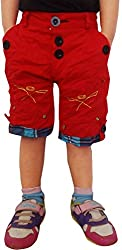 AD & AV RED PARTY WEAR CRUSH COTTON SHORTS