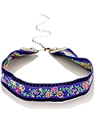 OOMPH's Blue Floral Satin Fashion Jewellery Choker Necklace For Women, Girls & Ladies - B01KPV11ME