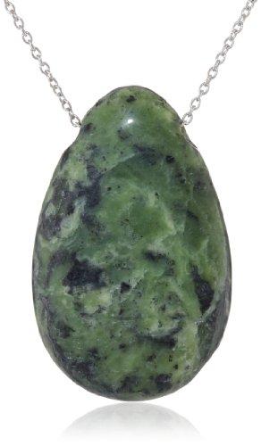 """Sterling Silver Green Jasper Teardrop Pendant Necklace, 18"""""""