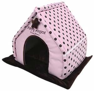 Puppy Angel Perky Polkadot Lovely House, Medium, Pink