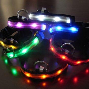 Size M Nylon Safety Flashing Glow Light Led Pet Dog Collar --- Color:White