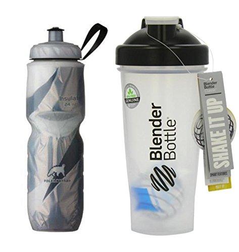 Blenderbottle® Classic Black - Polar Bottle Insulated Water Bottle Black - (Combo Pack) (28 Oz. - 24 Oz., Black)