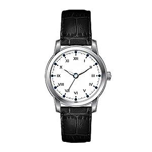AMS Christmas Gift Watch Women's Vintage Design Leather Black Band Wrist Watch Masculine Men Roman Time Watch