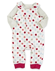2 Piece Pure Cotton Spotted & Striped Dungaree Outfit