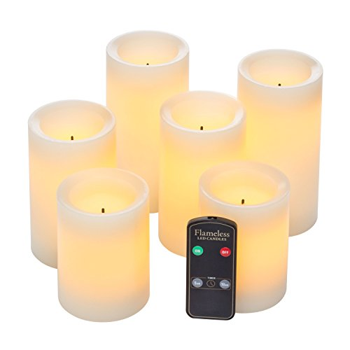 Real Wax Flameless Candle Set w/Dual Timer Feature and Remote Control - Duracell Batteries Included - Set of 6 (Flameless Remote Candle compare prices)