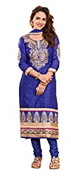 Lovely Look Latest BLUE Embroidered Dress Material