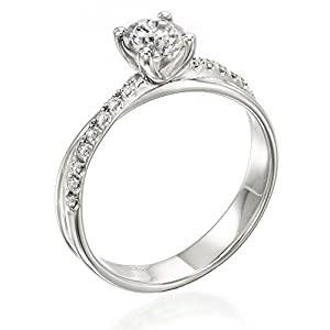 Diamond Engagement Ring in 14K Gold / White Certified, Round, 0.43 Carat, G Color, VS2 Clarity