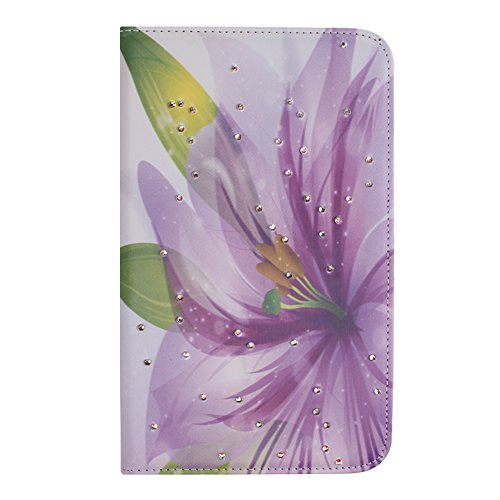 IKASEFU(TM) Girl's Cute Flower PU Leather Folio Case Protective Book Style Flip Cover Bling Case with Stand and Rhinestone for Samsung Galaxy Tab 3 7.0 7 inch Tablet SM-T210 / SM-T217 (Purple Lily)