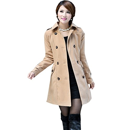 Partiss Womens Double Breasted Woolen Duffle Trench Coat, Small,Camel