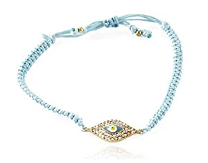 Aqua Knotted Cord and Sparkling Crystal Studded Evil Eye Charm Beautiful Adju...