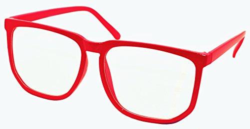Fancyg® Retro Vintage Inspired Classic Nerd Wayfarer Clear Lens Glasses - Red